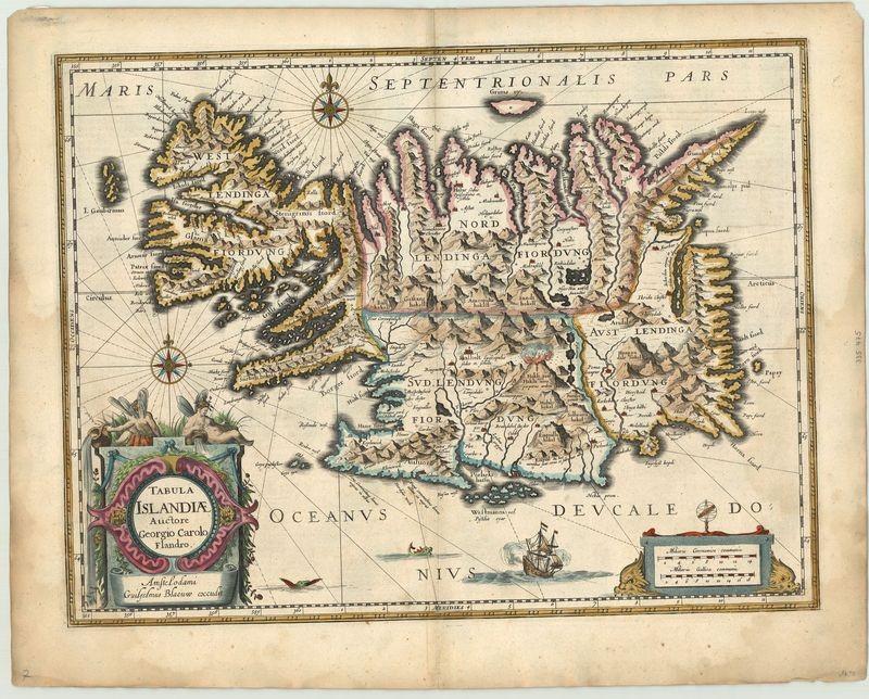 2443   Blaeu, Willem: Tabula Islandiae Auctore Geogrio Carolo Flandro 1634