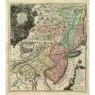 2494   Seutter / Lotter: Pensylvania Nova Jersey et Nova York cum Regionibus ad Fluvium Delaware ... 1750