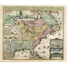 2801   Châtelain, Henri Abraham: Carte de la Nouvelle France, où se voit le cours des Grandes Rivieres de S.Laurens & de Mississipi  1718
