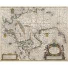3070   Doncker, Hendrick: Pas Caart van de Noort Zee  Verthoonende in zich alle de Custen en Havens daer rontom gelegen. 1664