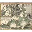 3253   Homann, Johann Baptist : Geographische Vorstellung der jämmerlichen Wasser-Flutt in Nieder-Teutschland, 25.Dec. 1717.  1718