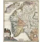 3348   Homann, Johann Baptist : Regni Norvegiae Accurata Tabula in qua Praefecturae quinque Generales  1720