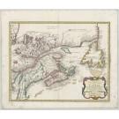 3358   Homann Erben nach Bellin: Partie Orientale de la Nouvelle France ou du Canada  1755