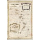 3410   Depot de la Marine (Bellin) : Carte reduite des Isles Antilles  1758
