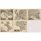 3418   Wit, A. F.:  Satz von 5 Karten (Set of 5 maps) Welt und Kontinente  1670