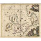 3433   Wit, Frederick de: Pascaert vande Noort Zee om achter Yrland en Schotland om te seylen  1675